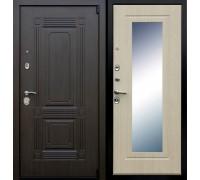 Входная дверь АСД Викинг с зеркалом Беленый дуб