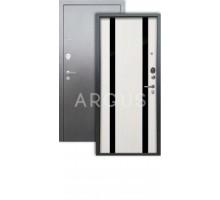 Дверь Аргус Люкс 3К Дуэт белое дерево/серебро антик