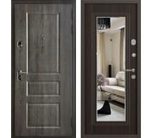 Входная дверь Бульдорс STANDART 90 дуб графит/ларче шоколад зеркало