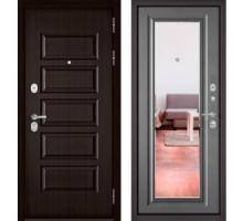 Входная дверь Бульдорс STANDART 90 ларче шоколад/бетон серый зеркало