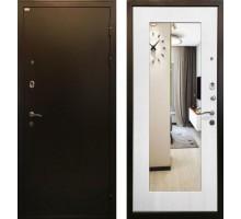 Входная металлическая дверь Милан белый ясень с зеркалом