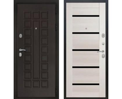 Входная дверь Престиж 3К СБ-14 'Лиственница бежевая / Черное стекло'